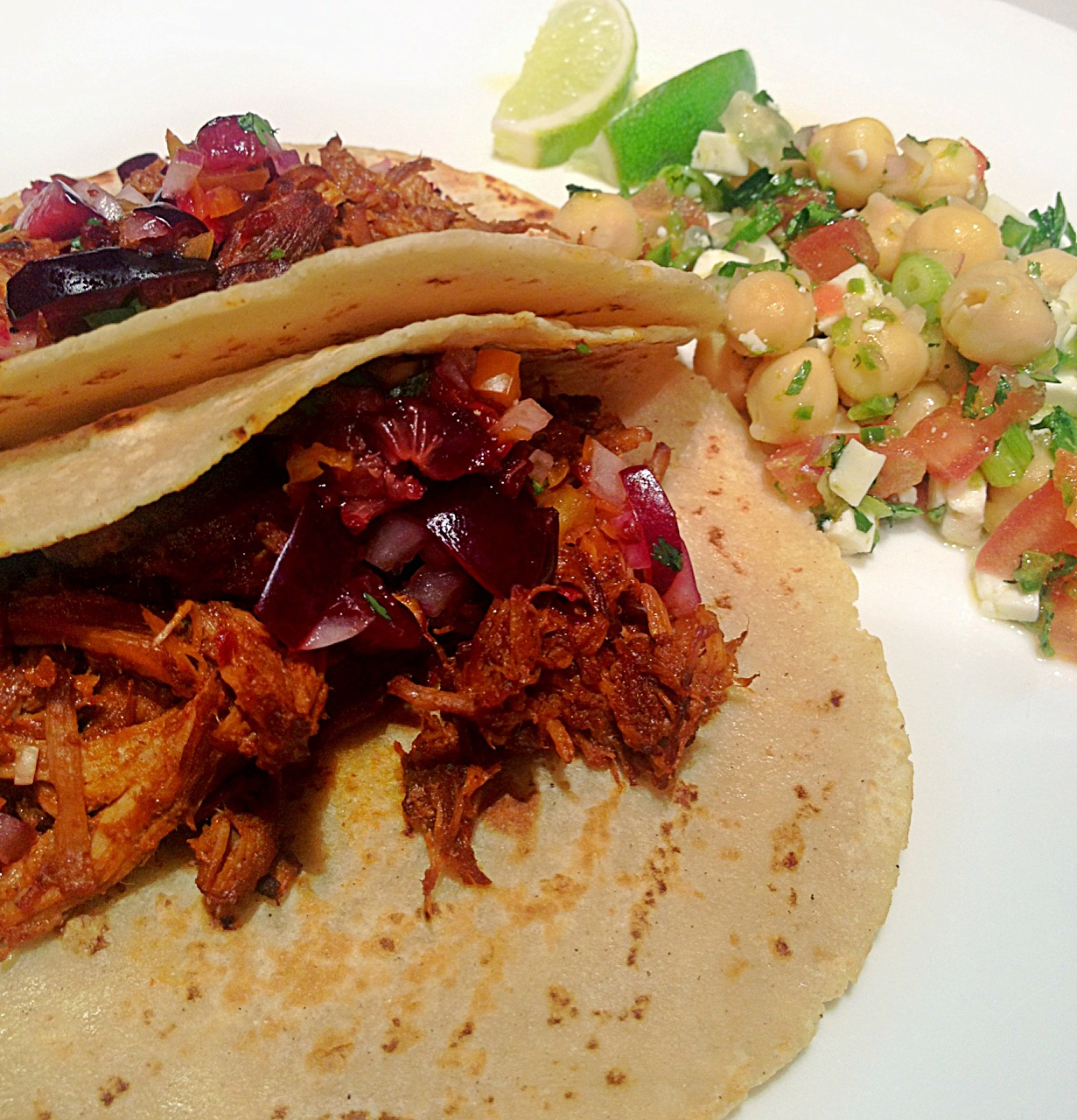 ANCHO CHILE BRAISED PORK ADOBADA TACOS, FRESH LOCAL CHERRY-CHIPOTLE ...